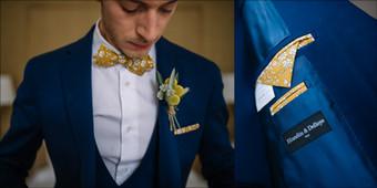 Costume bleu contrasté par détails jeune - Marié Rhône-Alpes