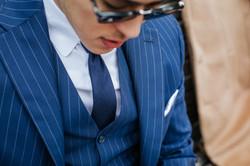 Gilet et veste bleu à rayures