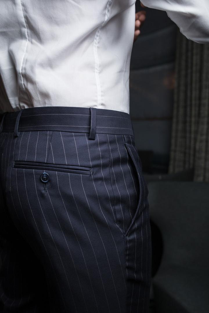 Pantalon rayé avec 2 poches arrière