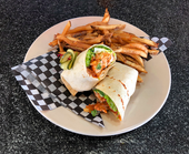 Buffalo Chicken Wrap with handcut fries.