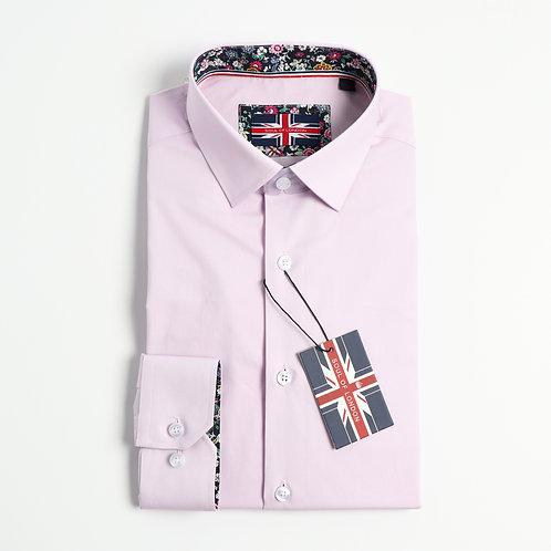 Soul Of London - Stretch Solid Dress Shirts -Lilac