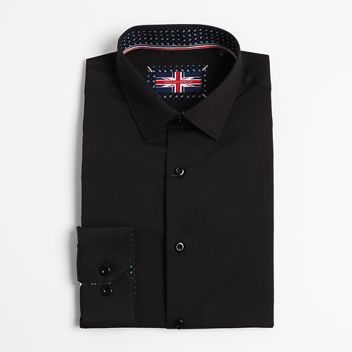 Soul Of London - Stretch Solid Dress Shirts - Black
