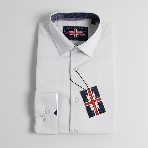Soul Of London - Stretch Solid Dress Shirts - White