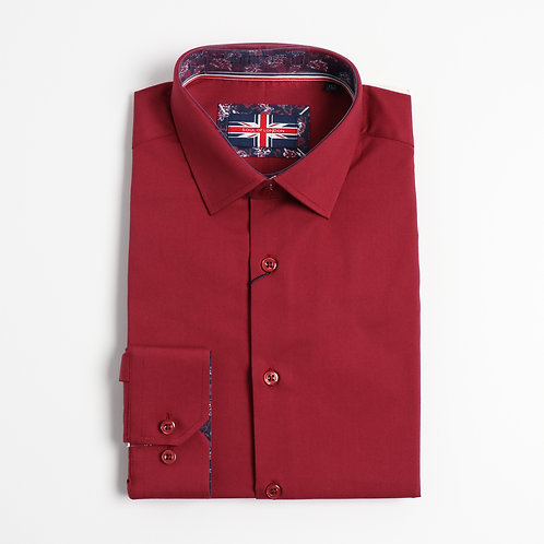 Soul Of London - Stretch Solid Dress Shirts -Burgundy