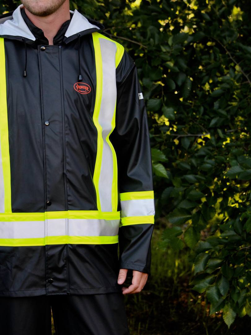FR Waterproof Safety Jacket - PU Stretch - Detachable Hood