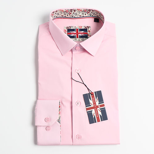 Soul Of London - Stretch Solid Dress Shirts - Pink