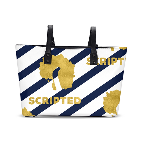 Beach Navy Scripted Stylish Tote
