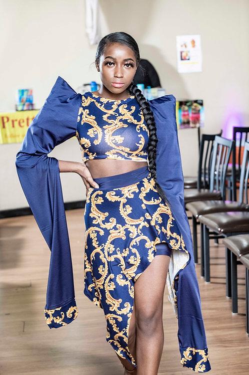 Blue/Gold Print 2 Piece Skirt Set