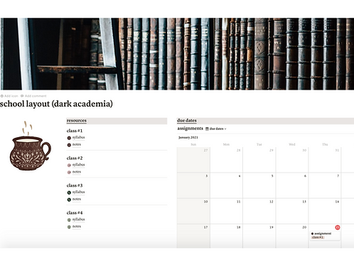 Dark Academia Student Planner