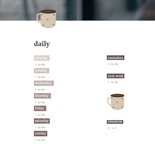 """Daily To-Do List Template /""""Coffee"""""""