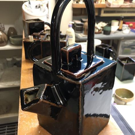 Tenmoku Slab Teapot