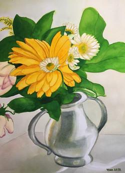Daisies in Pewter Vase