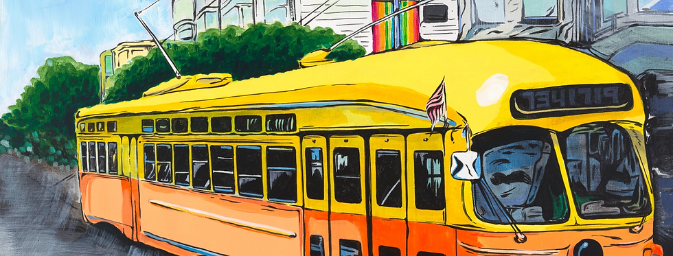 Yellow and Orange SF Trolley