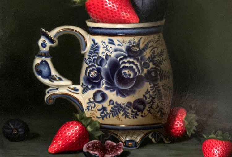 Pitcher with Strawberries and Figs