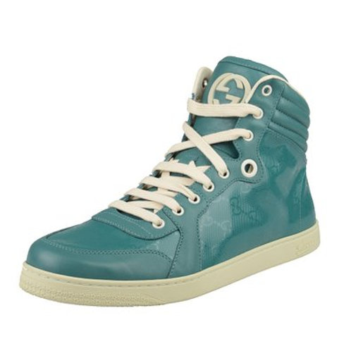 Gucci Blue GG Print Leather Hi Top