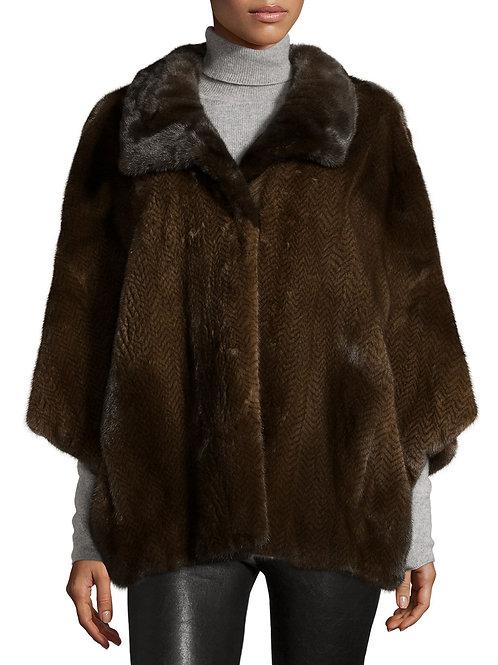 Tasha Tarno Knit Mink Fur Cape, Brown