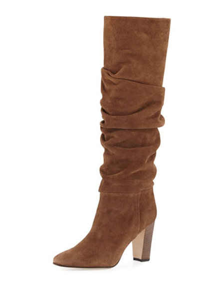 Manolo Blahnik Brunchilee Suede Scrunched Boot