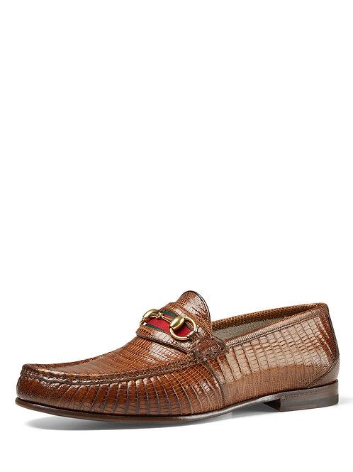 Gucci  Lizard Horsebit Loafer, Light Brown
