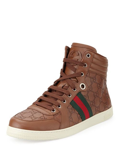 Gucci  Brown Guccissima Leather High-Top Sneaker