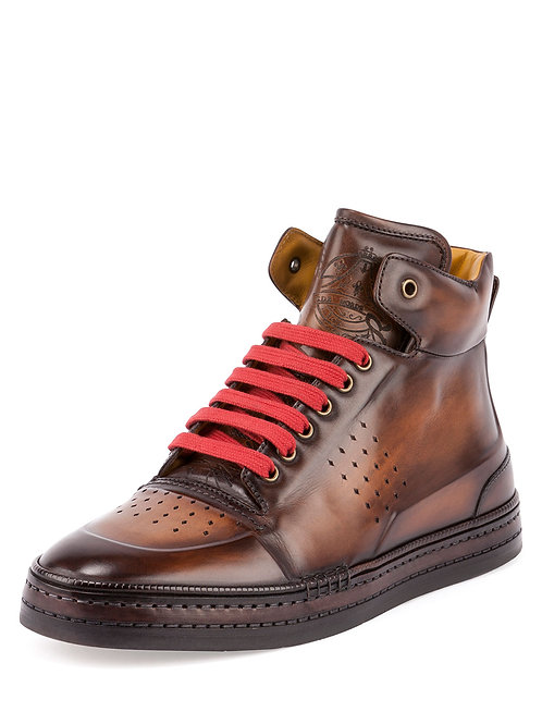 Berluti Playtime Leather High-Top Sneaker (Tobacco