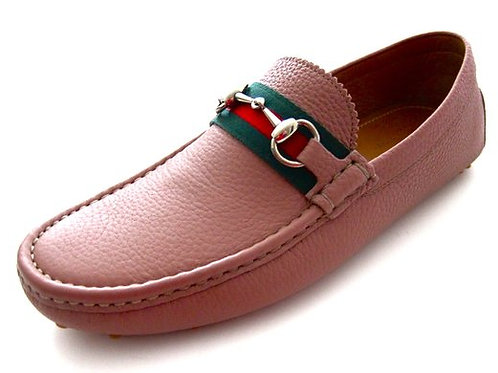 Gucci Mens Camelot Pink Leather Loafers