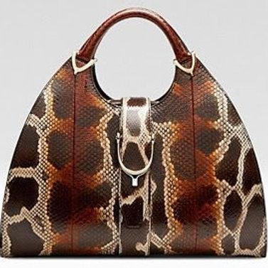 Gucci Horsebit Python Handbag Burgundy/Brown