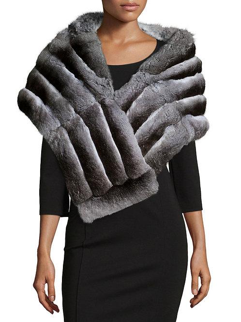 Gorski  Chinchilla Fur Shawl, Gray