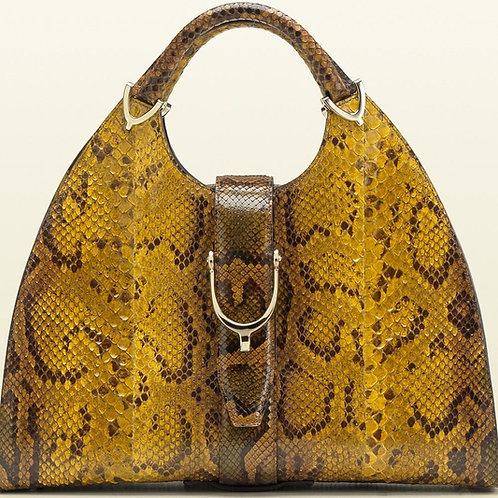 Gucci Horsebit Python Handbag Yellow/Brown
