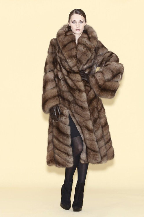 Chateau de Laquant Russian Sable Hooded Coat