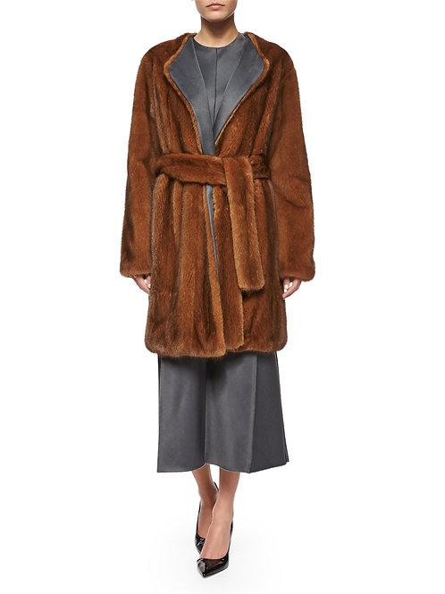 THE ROW Narston Mink Fur Tie-Waist Coat
