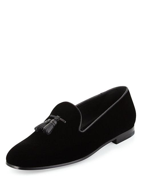 Giorgio Armani Velvet Tassel Slip-On Shoe, Black