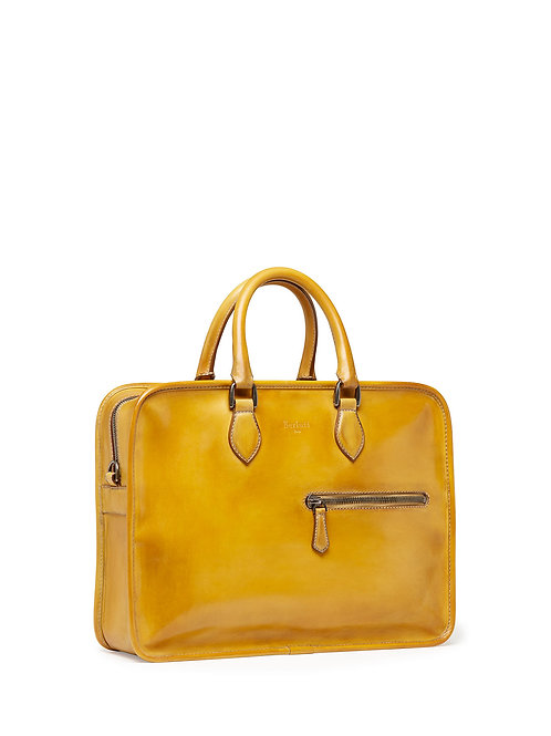 Berluti  Single-Zip Leather Briefcase, Yellow