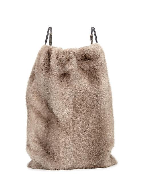 Brunello Cucinelli  Mink Fur Drawstring Backpack