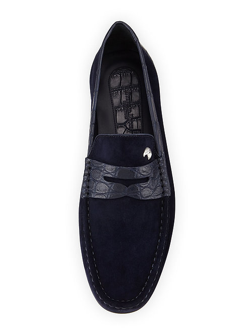 Stefano Ricci Suede Penny Driver (Navy)