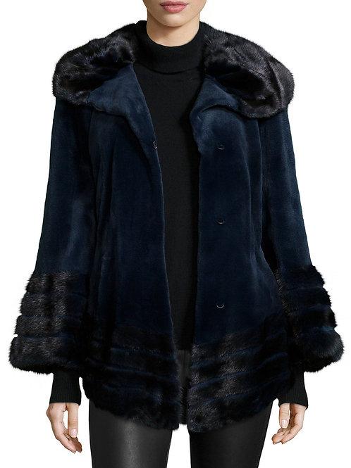 Gorski  Sheared Mink Fur Jacket, Navy