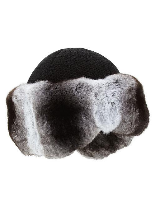 Inverni Cashmere Knit Hat w/ Chinchilla Fur Brim