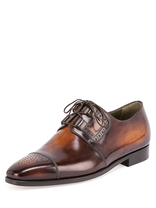 Berluti Perforated Lace-Up Derby Shoe, Tobacco