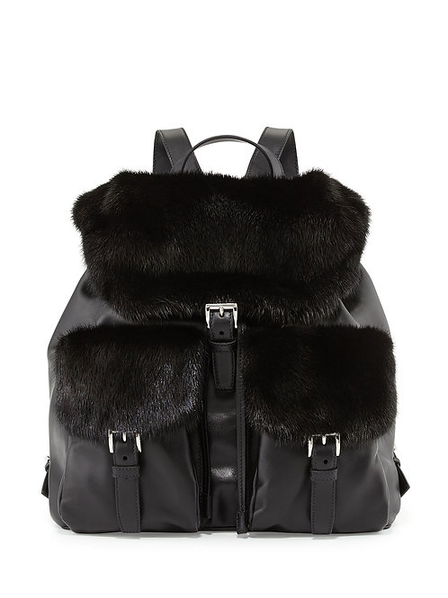 Prada  Soft Calf & Mink Fur Backpack, Black (Nero)