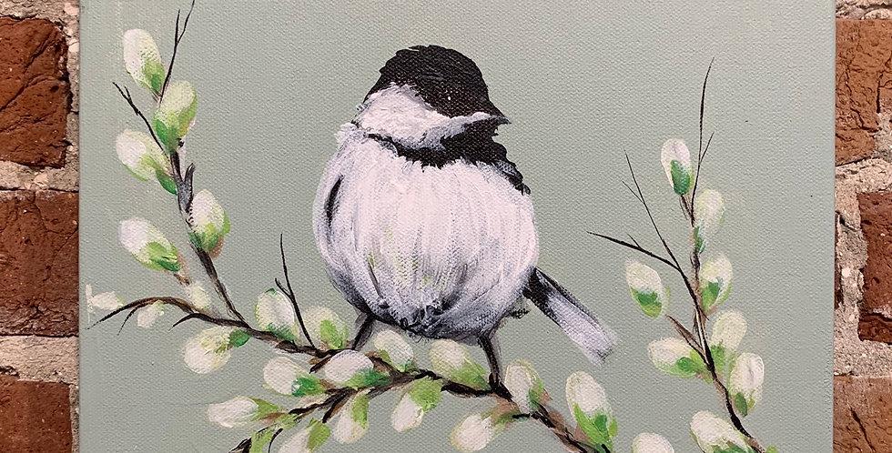 "Chickadee on Canvas 14""H x 11""W"