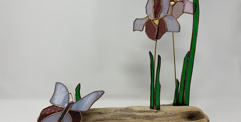 Iris on Wood