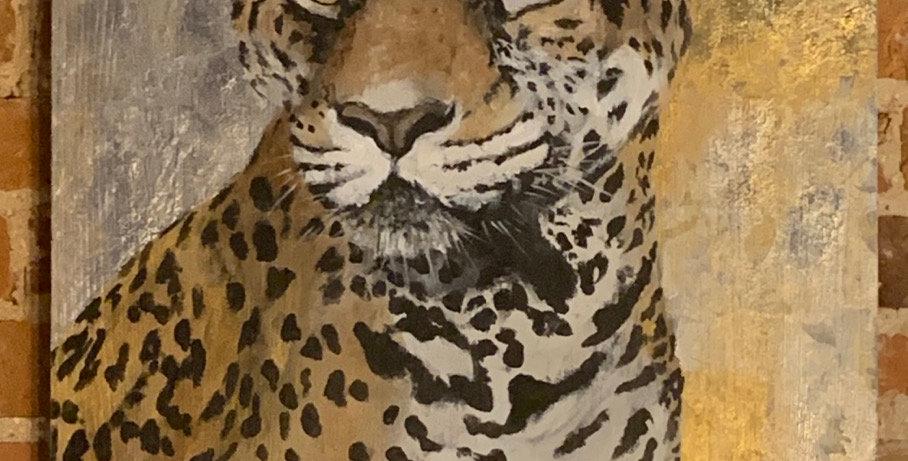 """Leopard in Gold Leaf 36""""H x 20""""W"""
