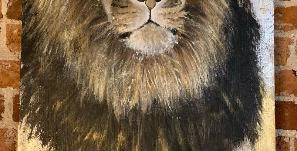 """Lion in Gold Leaf 36""""H x 20""""W"""