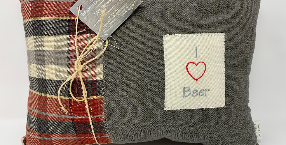 "11""x14"" Pillow - I Heart Beer"
