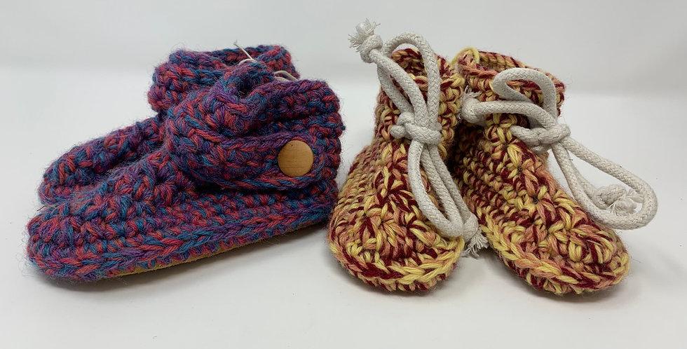 Crotchet w/Sheepskin Booties (1-2Yrs)