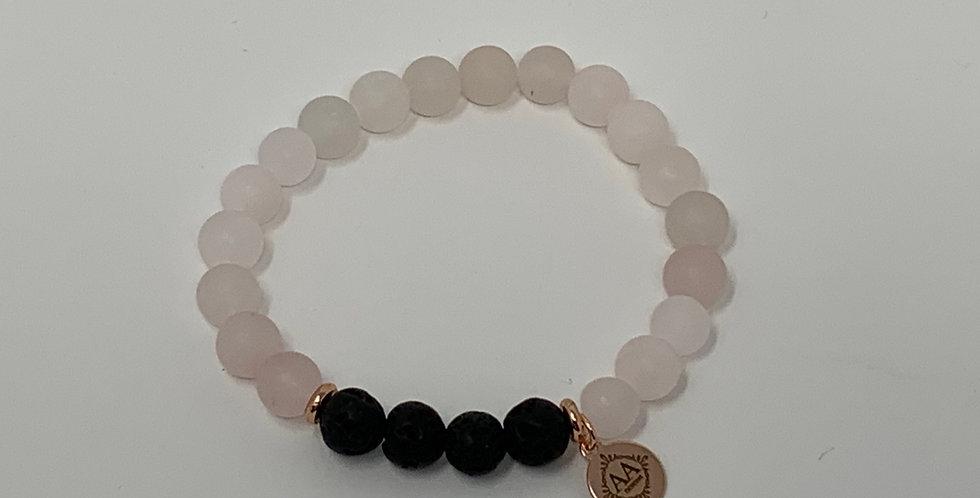 Rose Quartz Bracelet w/Lava Stone