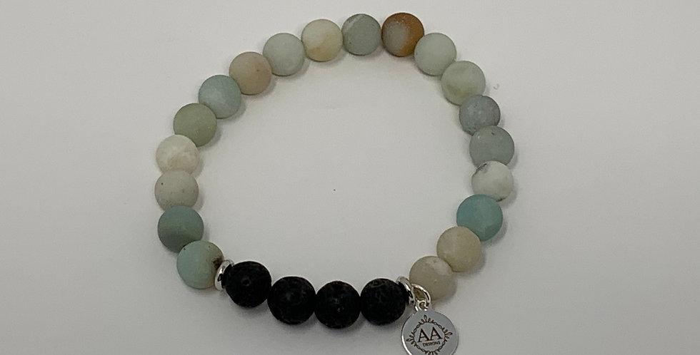 Amazonite Bracelet w/Lava Beads