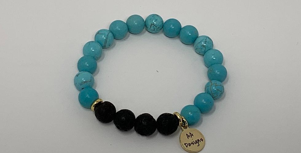 Turquoise Bracelet w/Lava Stone
