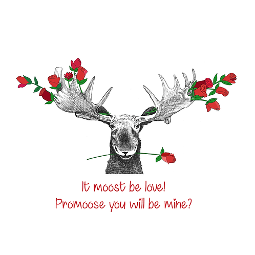 Add a free gift note - Valentine's Moose