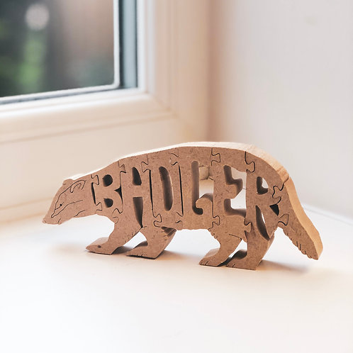 Rustic Paint-Your-Own Badger Jigsaw