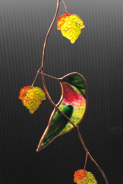 Turned Hummingbird with Autumn Maple Leaves Stained Glass Suncatcher